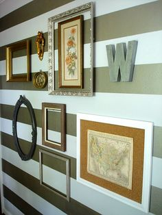 "instead of using a cork board for messages, etc., I love how this one is used basically as a frame ... adds nice texture, BUT so easily changeable too ... four little pins in the corners so you wouldn't harm what you've ""framed"".  Nothing was said in the blog about that use but that's what I see when I look at this wall"
