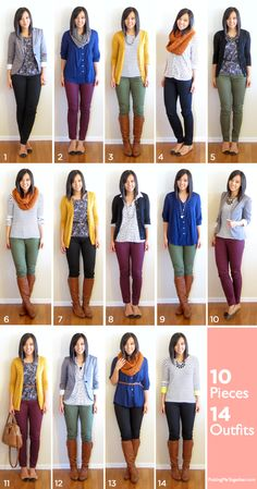 3 bottoms (2 neutral, 1 colour) + 3 completers (1 blazer, 2 cardis) + 4 tops + 2 pairs of shoes + 2 scarves