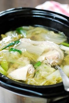 Slow cooker chicken soup with napa cabbage 3 pounds cut chicken parts, bone-in, skin-on preferably 12 ounces napa cabbage, thick, outer leaves preferably (see note) medium onion 6 to 7 plump garlic cloves 3 thin ginger slices salt and pepper 2 scallions Cabbage Chicken Soup, Korean Chicken Soup, Asian Soup, Chicken Soup Recipes, Chicken Soups, Chinese Cabbage Soup Recipe, Soup With Cabbage, Crock Pot Recipes, Slow Cooker Recipes