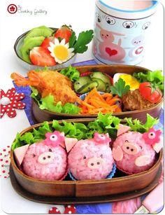 Pink Piggies Onigiri Bento Box
