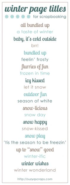 winter scrapbook page titles