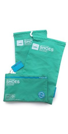 This clever set of 2 drawstring bags protects shoes packed in a travel bag or purse.
