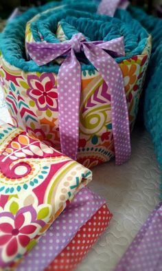 baby girl bedding in Paisley and Dots includes bumper set , fitted sheet and crib skirt via Etsy