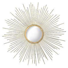 23 x 23 30.00 Metal Sunburst Mirror - Aged Gold