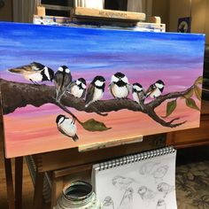 My Painting--Flock of Chickadees inspired by Cinnamon Cooney The Art Sherpa! @artsherpa