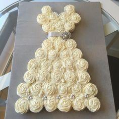 Bridal shower cupcake dress! Pull apart cupcakes! Wedding treat