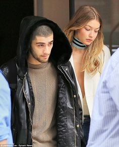 Gigi Hadid takes the plunge in a revealing cream ensemble Gigi Hadid And Zayn Malik, Gigi Hadid 2014, Zayn Malik Style, Zayn Mailk, Niall Horan, Plunge Bodysuit, Celebs, Celebrities, Celebrity Couples