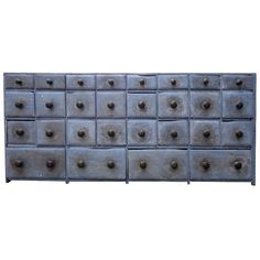 """ca: 1840 Early American Dry Blue Painted, Twenty-Eight Drawer Apothecary 31""""h x 5.5""""wide x 12""""d"""