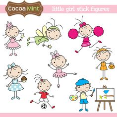 Little Girl Stick Figures Clip Art por cocoamint en Etsy Doodle Drawings, Easy Drawings, Doodle Art, Drawing For Kids, Art For Kids, Stick Figure Family, Doodles, Stick Art, Stick Figures