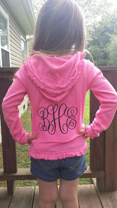 Monogrammed Ruffle Edge light weight jacket by ahSEWcute on Etsy