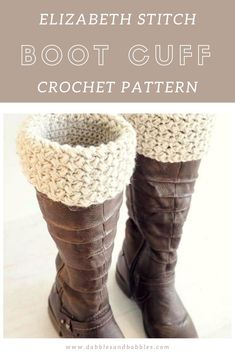 boot cuffs Elizabeth Stitch Boot Cuff Crochet Pattern - very quick and easy to make. They're the perfect accessory to go with a pair of jeans and your favorite boots. Crochet Puff Flower, Crochet Flower Patterns, Crochet Flowers, Crochet Headbands, Knit Headband, Hat Patterns, Baby Headbands, Stitch Patterns, Knitting Patterns