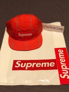 66228a5e Supreme New York orange reflective text stripe camp cap hat box logo -hard  to find