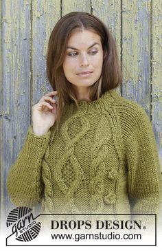 Ravelry: Green Tea pattern by DROPS design Knitting Patterns Free, Knit Patterns, Free Knitting, Free Pattern, Drops Design, Pull Torsadé, Magazine Drops, Knit Cardigan Pattern, Scarf Tutorial