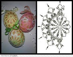 szydełkowe pisanki Filet Crochet, Crochet Diagram, Crochet Motif, Crochet Flowers, Crochet Easter, Christmas Crochet Patterns, Crochet Snowflake Pattern, Crochet Snowflakes, Easter Crafts