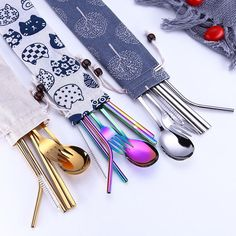 Tofok Stainless Steel Dinnerware Set Spoon Fork Chopsticks Straw With Cloth Pack Cutlery For Travel Outdoor Office Picnic BBQ Outdoor Dinnerware, Black Cutlery, Cutlery Set, Baguette, Wedding Silverware, Outdoor Office, Stainless Steel Cutlery, Metal Straws, Travel Accessories