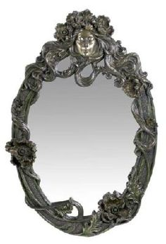 Art Nouveau Oval Wall Mirror Nymph Face and Poppy Themed
