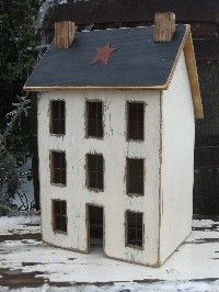 Lighted Country Houses and Primitive Saltbox Houses ~ the birdhouse barn.com