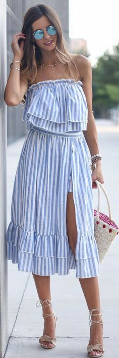 Women's Sexy Sleeveless Flounce Off the Shoulder Dress Trendy Summer Outfits, Boho Outfits, Spring Outfits, Summer Dresses, Dresses For Less, Mantel, Shoulder Dress, Street Style, Womens Fashion