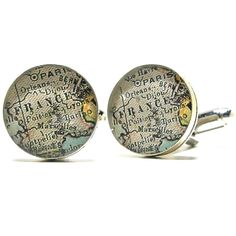 Paris France 1899 Antique Map Cufflinks.