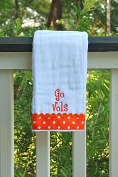 Go Vols Tennessee embroidered burp cloth. $12.00, via Etsy.