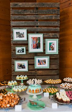 Rustic teal accented wedding dessert table with couple's pictures!