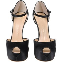 Sandals Women (1,950 PEN) ❤ liked on Polyvore featuring shoes, sandals, heels, sapatos, scarpe, satin shoes, giuseppe zanotti, black heeled sandals, black satin sandals and black sandals