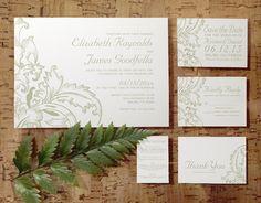 Ivory Flourish Wedding Invitation Set/Suite by InvitationSnob