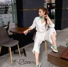 This item is unavailable Street Style Blog, Overalls Women, White Jumpsuit, Jumpsuits For Women, Etsy Shop, Shirt Dress, Elegant, Check, Sleeves