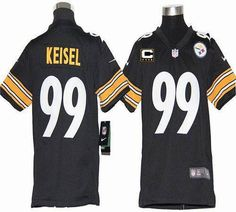24678b97e Nike Steelers Brett Keisel Black Team Color With C Patch Youth Embroidered  NFL Elite Jersey Kelly