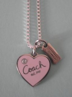 Coach Pink Crystal logo Heart Charm