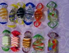 Lot 11 Pieces Vintage Murano Italy Hand Blown Glass Candy Swirled Striped Multi