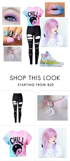 """Pastel Goth"" by destiny-witcher ❤ liked on Polyvore featuring WithChic and Converse"