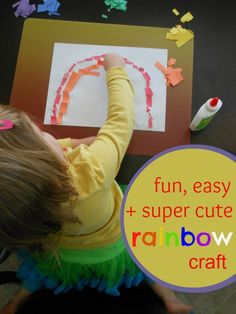Fun, easy and super cute rainbow craft for toddlers and preschoolers. This is a great fine motor activity!