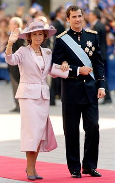 Queen Sofia of Spain and her son Prince Felipe