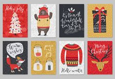Christmas card set, hand drawn style. This is 100 vector collection. You can edit and scale it to any size. Use it for web design, flyers and other product. Included: Well grouped eps (10 version) ai (CS4) Text isn`t editable, fonts are not included.