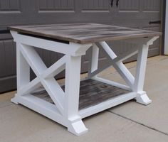 Inspired By Home - Coffee Table with Rustic Top & pure white X-frame bottom.