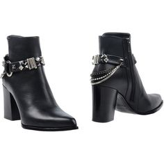 Le Silla Ankle Boots ($553) ❤ liked on Polyvore featuring shoes, boots, ankle booties, black, black studded boots, black ankle boots, black leather ankle booties, black studded booties and black boots