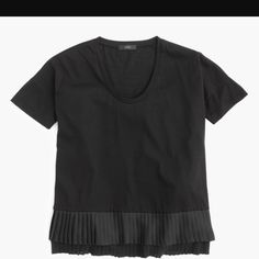 """SALEJ.Crew Pleated Chiffon Hem Black T Shirt NWOT, never worn!   Pleated chiffon-hem T-shirt  PRODUCT DETAILS A pleated chiffon hem adds a feminine (and fun) touch to this clean-lined, slightly dressier T-shirt.   Cotton/Poly Machine wash. Import.  SIZE & FIT DETAILS Slightly loose fit. Body length: 29"""". J. Crew Tops"""
