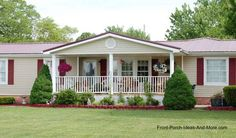 Very charming ranch home with lovely front porch. The porch design could work well on a modular or mobile home, too.