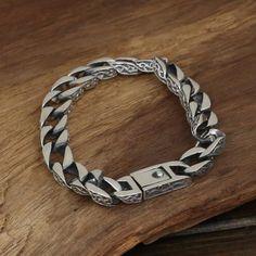 Men's Sterling Silver Ivy Pattern Curb Chain Bracelet - Jewelry1000.com