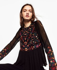 ZARA - WOMAN - COLOURED EMBROIDERED TOP