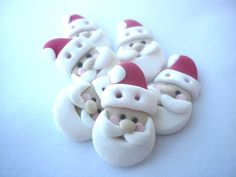 Polymer clay buttons-Christmas buttons- santa claus shaped  buttons handmade with polymer clay