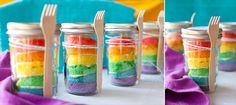 PERFECT! - not cooked inside mason jar rainbow cakes. (I can't stand it when people cook INSIDE the mason jar cuz they you don't see the vibrant colours of the cake just the brown parts... Not pretty! lol   So doing this for Isabel's birthday!  J.C.