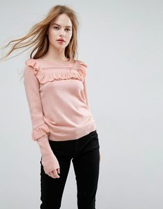 ASOS Sweater with Frill and Pointelle Detail - Pink