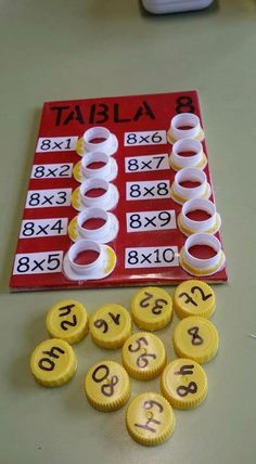 Interactive multiplication math Could change to be more difficult, addition, division, or subtraction. This is a fun way to help with multiplication. This is a and concrete lesson. Math Games, Preschool Activities, Student Games, Counting Activities, Word Games, Math Multiplication, Homeschool Math, Montessori Math, Maria Montessori