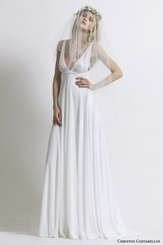 costarellos wedding dress 2014 sleeveless empire waist wedding dress   weddingbrand.com