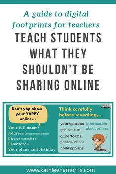 This post breaks down how to teach students about digital footprints. It explains the acronym YAPPY which reminds students what they should not share online. Click through for a free digital footprint poster for the classroom. Physical Education Games, Education Humor, Student Teaching, Teaching Kids, Career Counseling, Elementary Counseling, Elementary Schools, Internet Safety Tips, Printable Classroom Posters