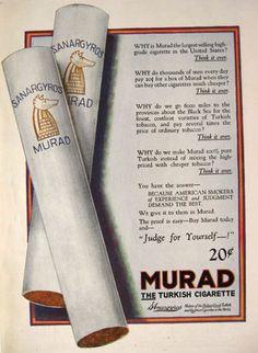 1921 Murad Cigarette Ad ~ Judge for Yourself