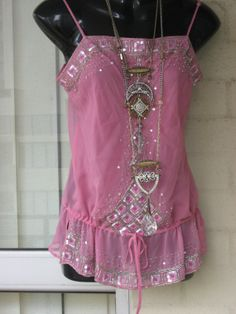 SALE..Vintage Sheer Chiffon  Pink Silver Sequin by GlamourZoya, $39.00