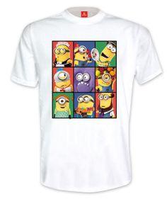 Camiseta Minions. Gru: Mi Villano Favorito Estupenda camiseta con la imagen de varios Minions basados en la película de animación Gru: Mi Villano Favorito.